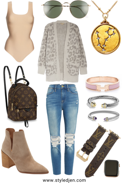 barefoot dreams grey leopard cardigan with frame ripped jeans and taupe steve madden booties