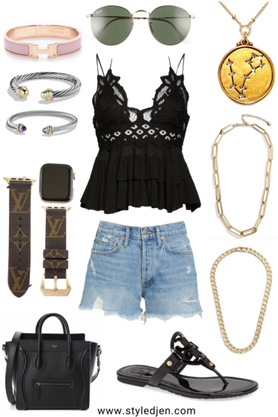 free people black adella cami with agolde shorts and celine nano