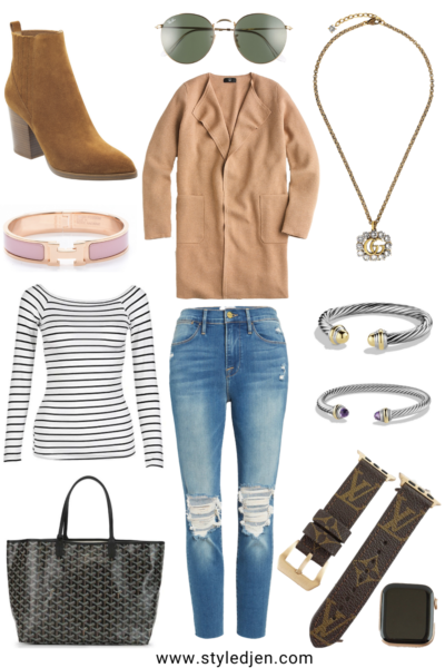 j crew camel juliette coatigan with stripe shirt and marc fisher tan alva booties