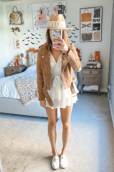 blanknyc suede moto jacket with white romper and white gucci mules