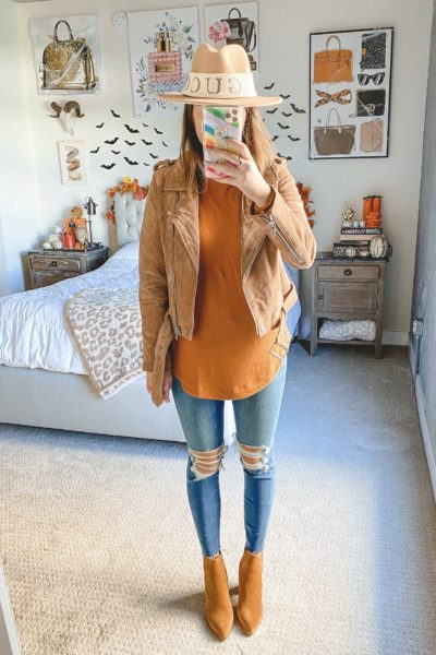 blanknyc suede moto jacket with rust loft sweater and booties