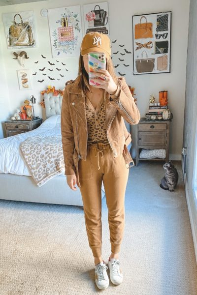 blanknyc suede moto jacket with abercrombie lounge set and golden goose sneakers