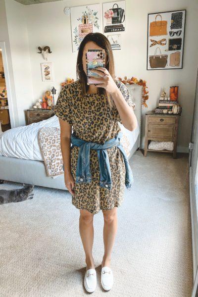 amazon leopard waffle knit dress with white mules