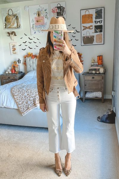 blanknyc suede moto jacket with white cropped jeans and anine bing ringo tee