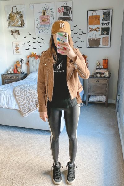 blanknyc suede moto jacket with spanx faux leather leggings and anine bing tee