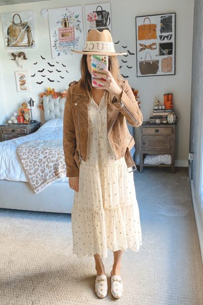 blanknyc suede moto jacket with salt water luxe dress and gucci mules