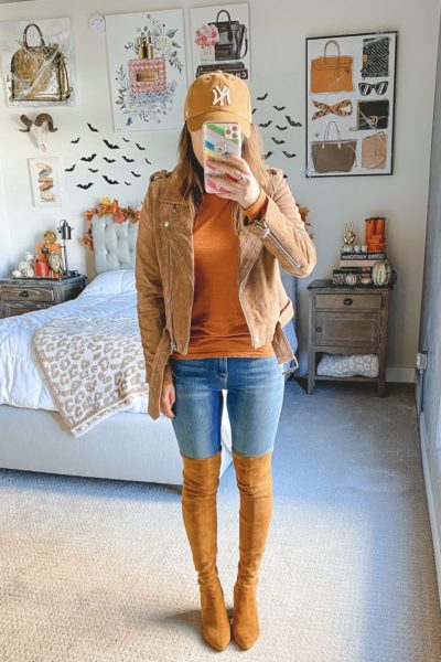 blanknyc suede moto jacket with rust rouched sleeve top and over the knee boots