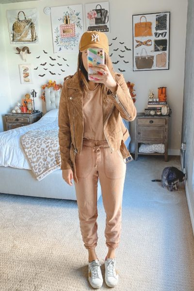 blanknyc suede moto jacket with aerie raw sienna lounge set and golden goose sneakers