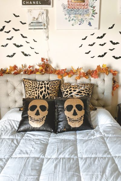 halloween bedroom decor sequin skull pillows and leopard pillows with bats