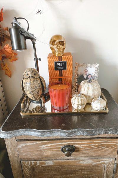 halloween bedroom decor nightstand with skull and pumpkin candles
