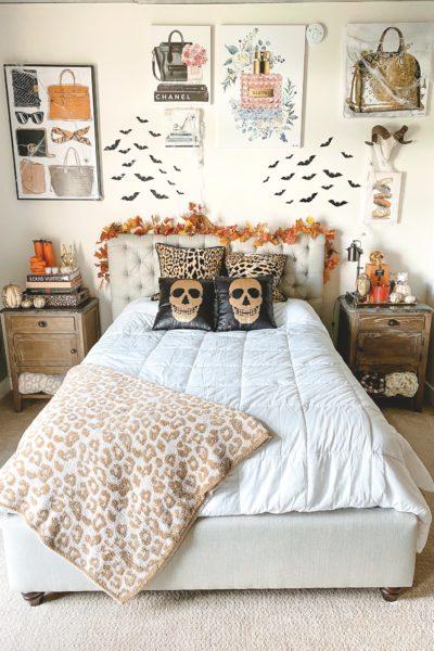 halloween bedroom decor sequin skull pillows and leopard pillows