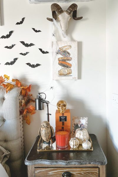 halloween bedroom decor nightstand with skull and candles