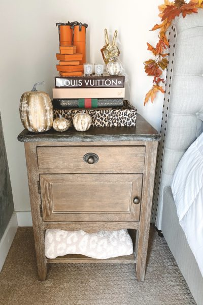 halloween bedroom decor leopard tray with pumpkins on nightstand