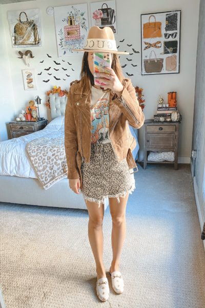 blanknyc suede moto jacket with leopard mini skirt and johnny cash tee