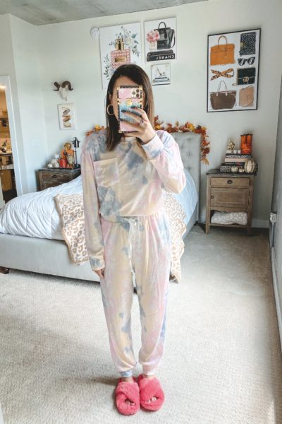 amazon yellow blue pink tie dye loungewear set with pink slippers