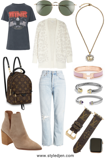 barefoot dreams cream leopard cardigan with anine bing vintage tee and agolde jeans