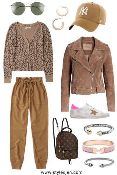 blanknyc suede moto jacket with abercrombie camel joggers and golden goose sneakers