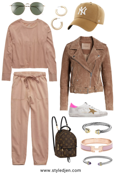 blanknyc suede moto jacket with aerie raw sienna loungewear set and golden goose sneakers