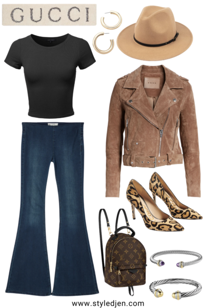 blanknyc suede moto jacket with free people flare jeans and fedora hat