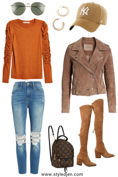 blanknyc suede moto jacket with free people natasha top and over the knee boots
