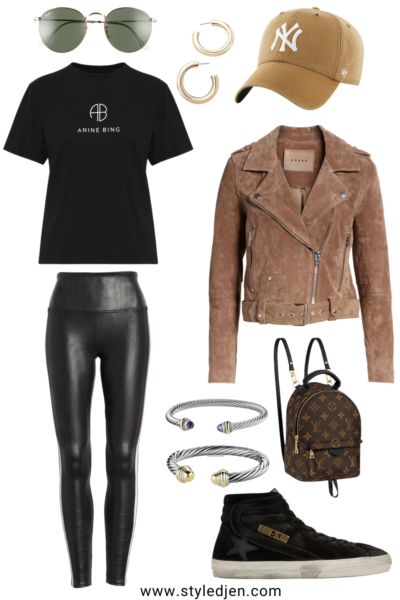 blanknyc suede moto jacket with spanx faux leather leggings and anine bing willow tee