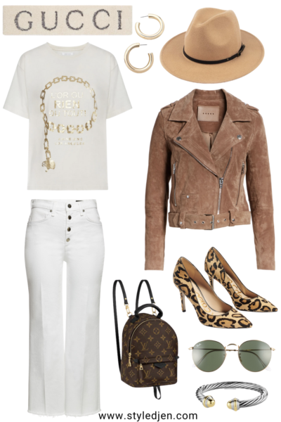 blanknyc suede moto jacket with white wide leg cropped jeans and anine bing ringo tee