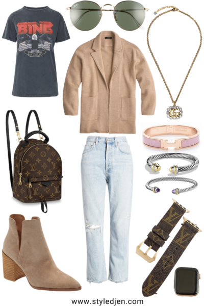 jcrew camel sophie blazer with anine bing vintage tee and gucci necklace