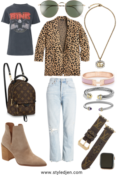 jcrew leopard sophie blazer with anine bing vintage tee and gucci necklace