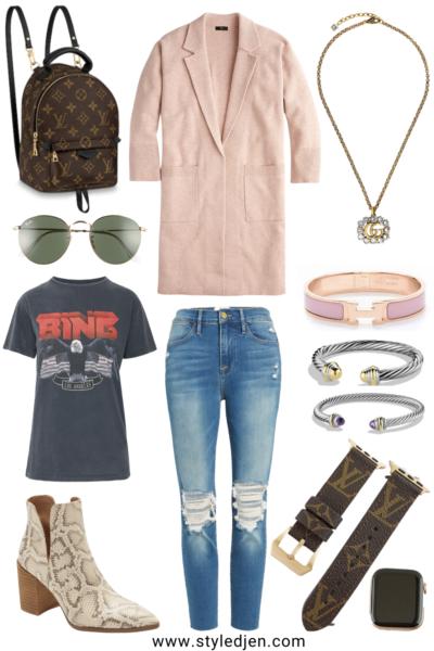 j crew pink ella coatigan with anine bing tee and snakeskin booties