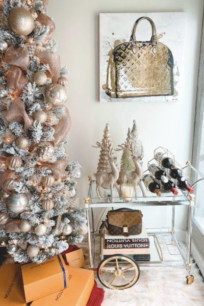 christmas bar cart decor with flocked skinny christmas tree