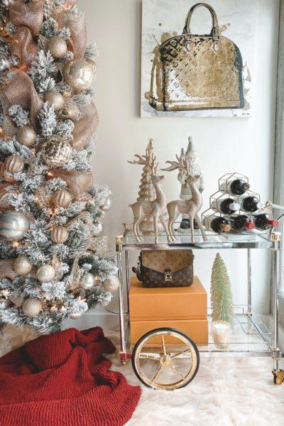 christmas bar cart decor with flocked christmas tree
