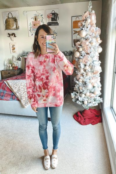 amazon pink tie dye sweatshirt with jeans and white mules