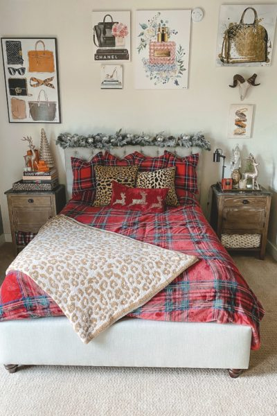 christmas bedroom decor 2020 with plaid pillows and blanket