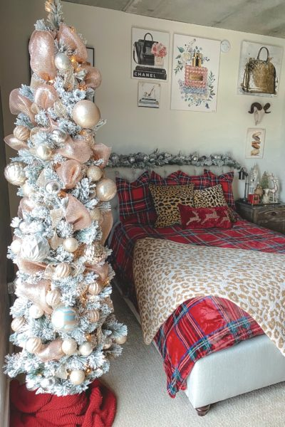 christmas bedroom decor 2020 with 7 foot skinny flocked pencil tree