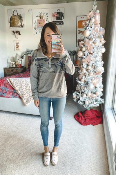 amazon camo half zip pullover with jeans and white mules