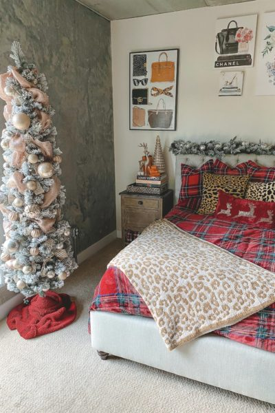 christmas bedroom decor 2020 with 7 foot skinny pencil tree