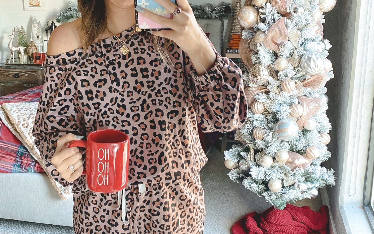 amazon leopard short and long sleeve lounge set with christmas tree