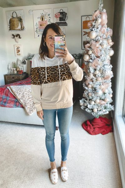 amazon leopard sweatshirt with jeans and white mules