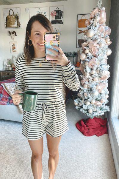 amazon stripe short and long sleeve lounge set with christmas tree