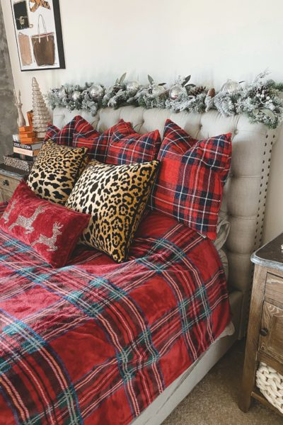christmas bedroom decor 2020 with leopard and plaid bed pillows