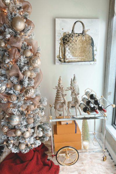christmas bar cart decor with christmas tree