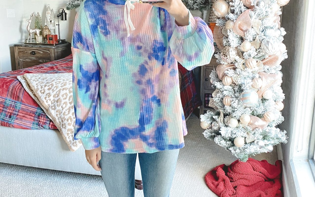 amazon purple tie dye sweatshirt with jeans and white mules