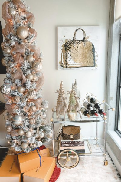 christmas bar cart decor with flocked pencil christmas tree