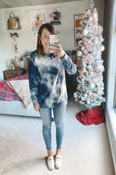 amazon black tie dye sweatshirt with jeans and white mules