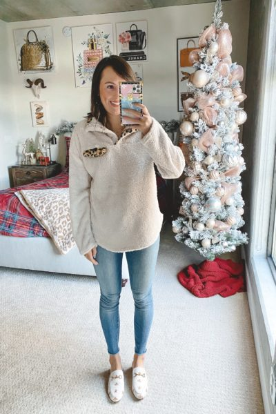 amazon leopard trim sherpa pullolver with jeans and white mules