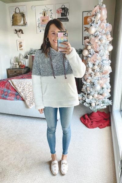 amazon color block sherpa pullolver with jeans and white mules