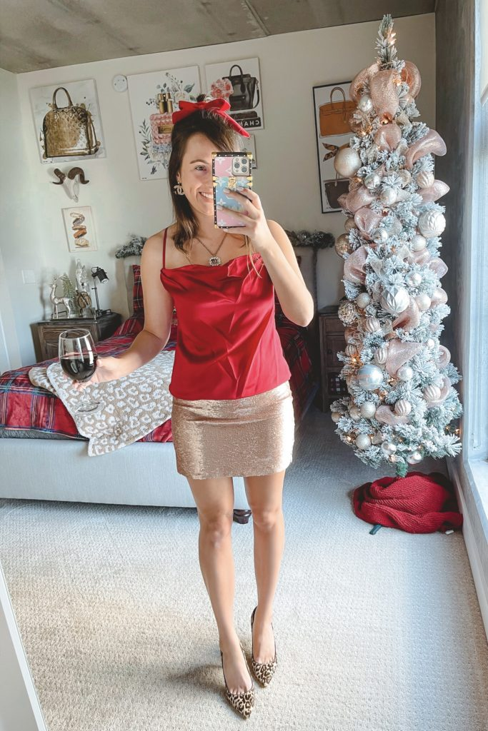 robert graham red cami with sequin skirt and gucci necklace