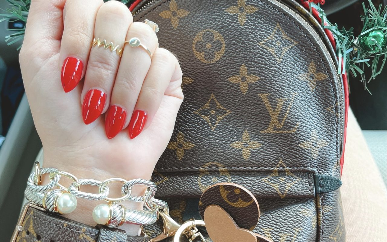 opi big apple red with christmas mouse ears and louis vuitton palm springs mini
