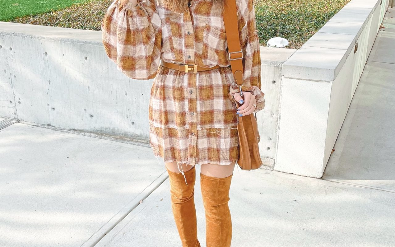 free people by the way plaid dress with over the knee boots and hat