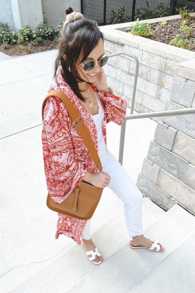 free people enchanted kimono with white denim and hermes evelyne